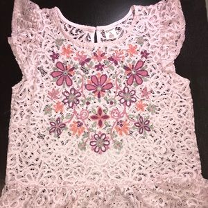 Pink Lacey Shirt W/ Flowers
